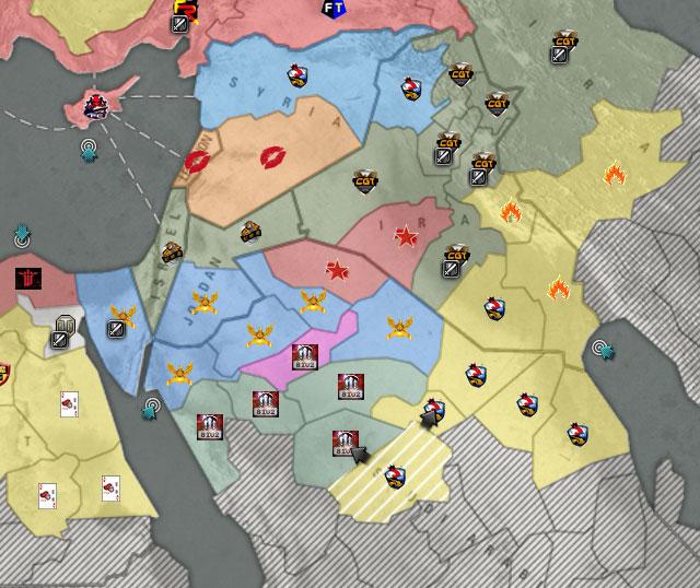 """北区近几个月领土争夺战中战火始终围绕巴尔干与意大利而进行,但是近期战争狂魔将战火引向了小亚细亚与阿拉伯地区,层在此狙击""""CGT""""几次的""""战火""""最终引火烧身。     今日""""破晓""""终于攻破了""""FR""""与""""FH""""所建造的意大利防线,坎帕尼亚的丢失让""""FH""""与""""FR""""陷入被包围的窘境。虽然尚有""""西西里岛""""登陆点掌握在&r"""