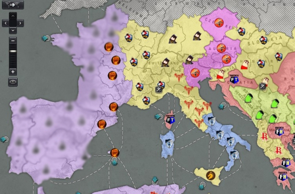 欧洲西部西班牙和法国的破晓系占领区依然安静,受空中网领土时区改变的影响,原22点时区现在变为23点时区,登陆点战斗要在23点40左右开始,内陆的战斗则会在0点35左右开始,使得很多热爱领土战的玩家感到疲惫。   欧洲中部齐天大圣依然占据四块补给区而无作为,与恐怖装甲某高管关系好就是方便,缺金币就能来补给。   传说中黄盟领土总管黑礼服所在的夜鹰特战现在占据着瑞士金矿,不过夜鹰特战好像从2015年4月到现在都没在领土战主战场露过面啊,也许是我的记忆过于模糊吧。   退出CGT公会的鐳釼在意大利地区已经
