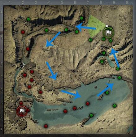 以沙漠地图中的我方(绿色)为例