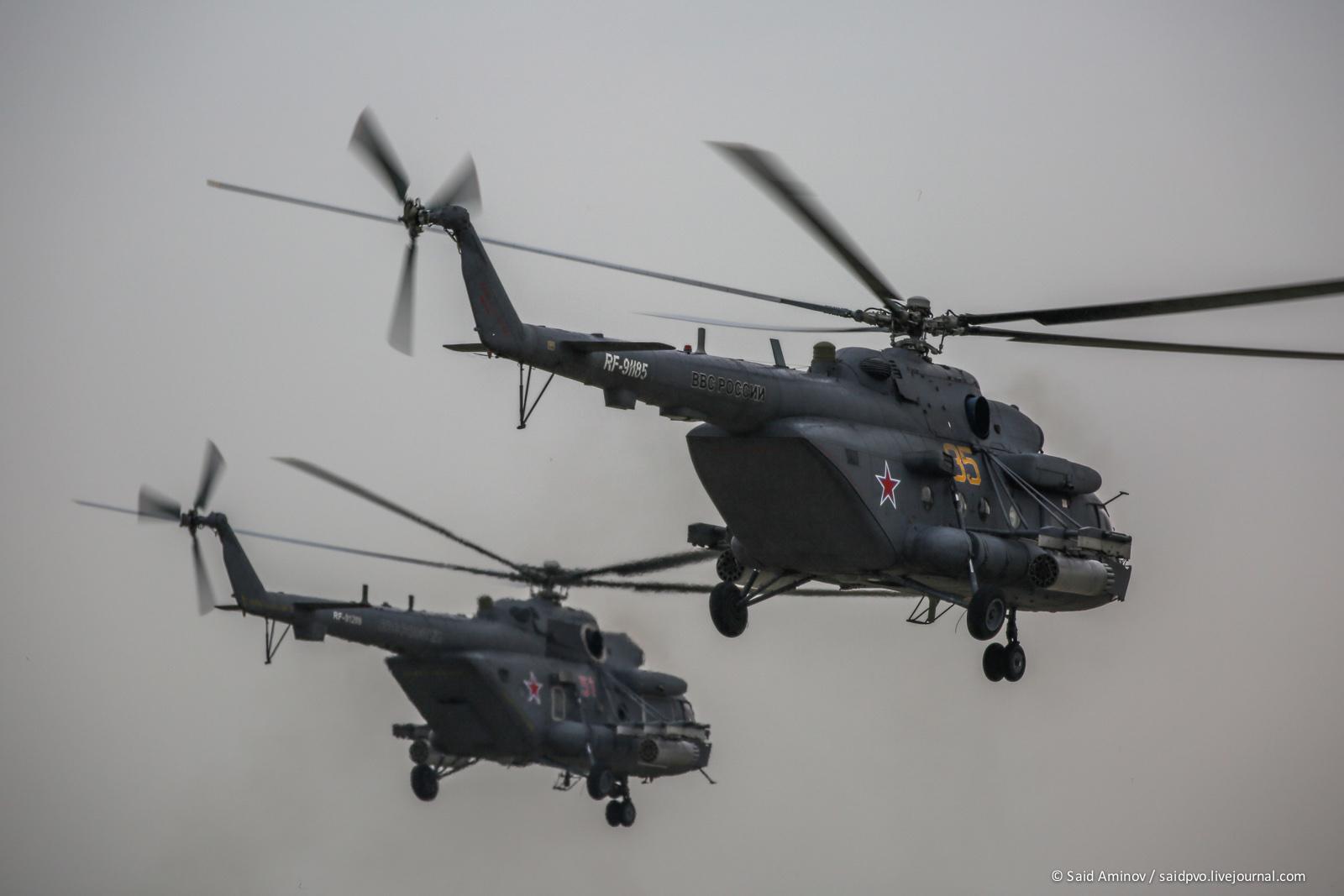 俄罗斯空军米-8/17直升机亮相库宾卡机场
