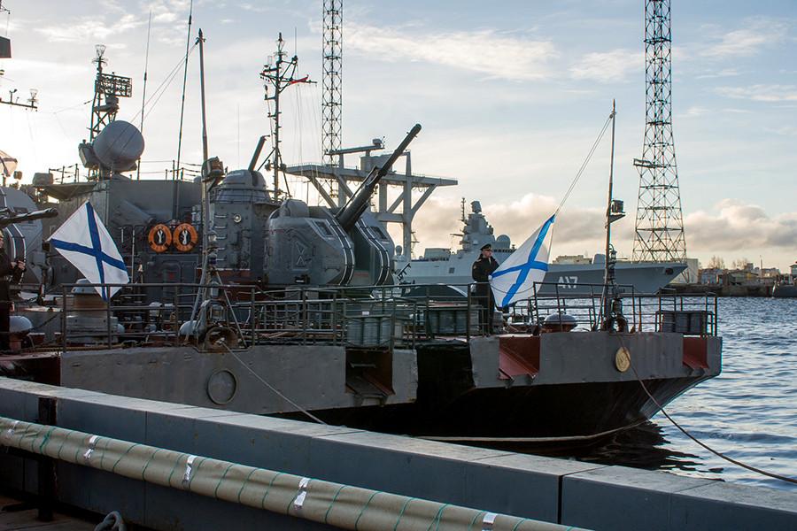 """俄罗斯北方舰队纪念""""纳里扬马尔""""舰服役25周年"""