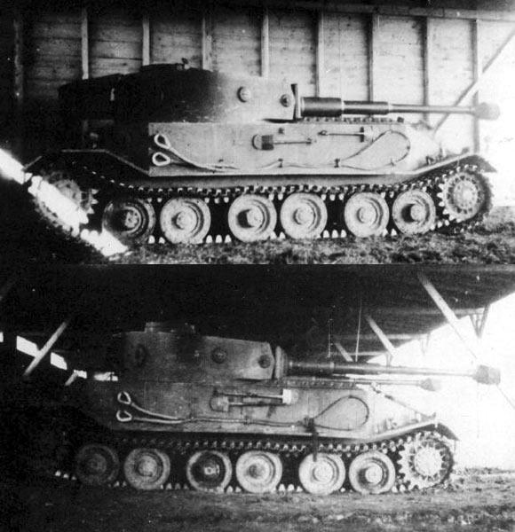 """""""虎""""(P)重型坦克有两种外部工具布置方案"""
