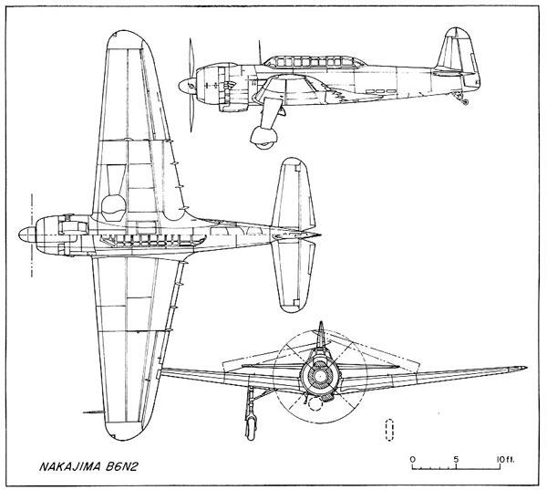 """B6N2""""天山""""舰载鱼雷轰炸机三视图 """"天山""""采用全金属结构,前中后式密闭座舱:前方为驾驶员,中间为观察导航兼水平轰炸瞄准员,后方为机枪手兼通讯员。 页数:"""