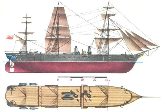 """进入十九世纪,大英帝国已占据海上霸权两百多年了,在这期间,英国先后打败了西班牙和荷兰,特别是对拿破仑战争的胜利,彻底稳固了英国全球霸主的地位。对当时的英国来讲,法国和俄国是其最大的潜在敌人,其海军的建设与战略方向也主要针对这两个国家。在得知法国建造""""光荣""""级的情报后,英国很快就意识到这种铁甲舰的出现将使英国舰队更易受到攻击,木质战舰将很快过时。"""