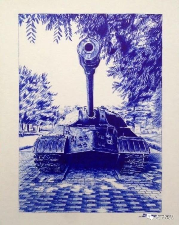 【图集】高手用圆珠笔画出坦克世界!大流氓上阵挑战