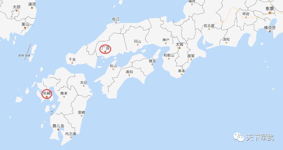日本广岛,长崎在地图上的位置
