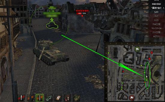 坦克进攻的fv215b(183)正在紧盯身后步步逼近的对手
